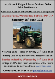 Lacy Scott & Knight holding farm machinery equipment auction june 2021 Vintage and modern