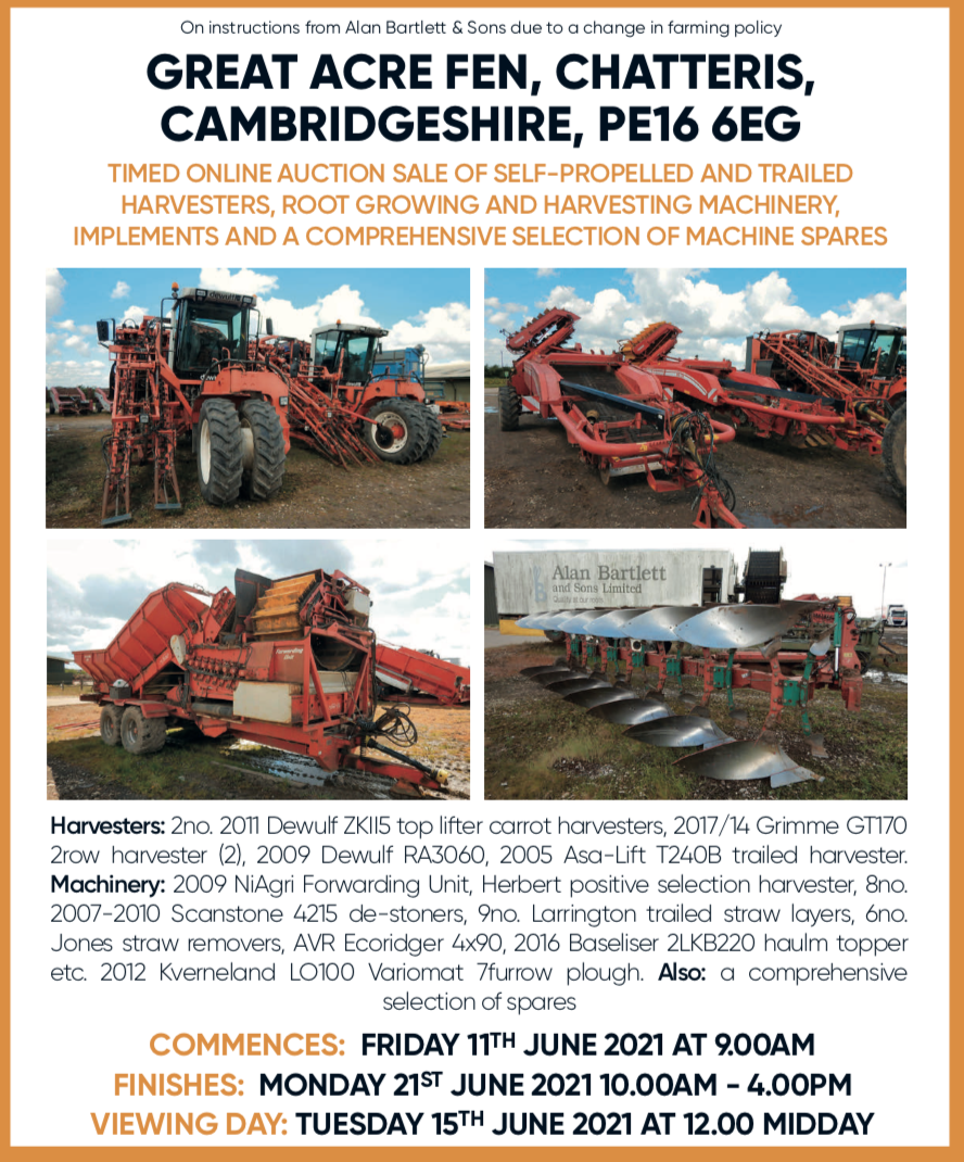 Online auction of harvesting machinery and equipment