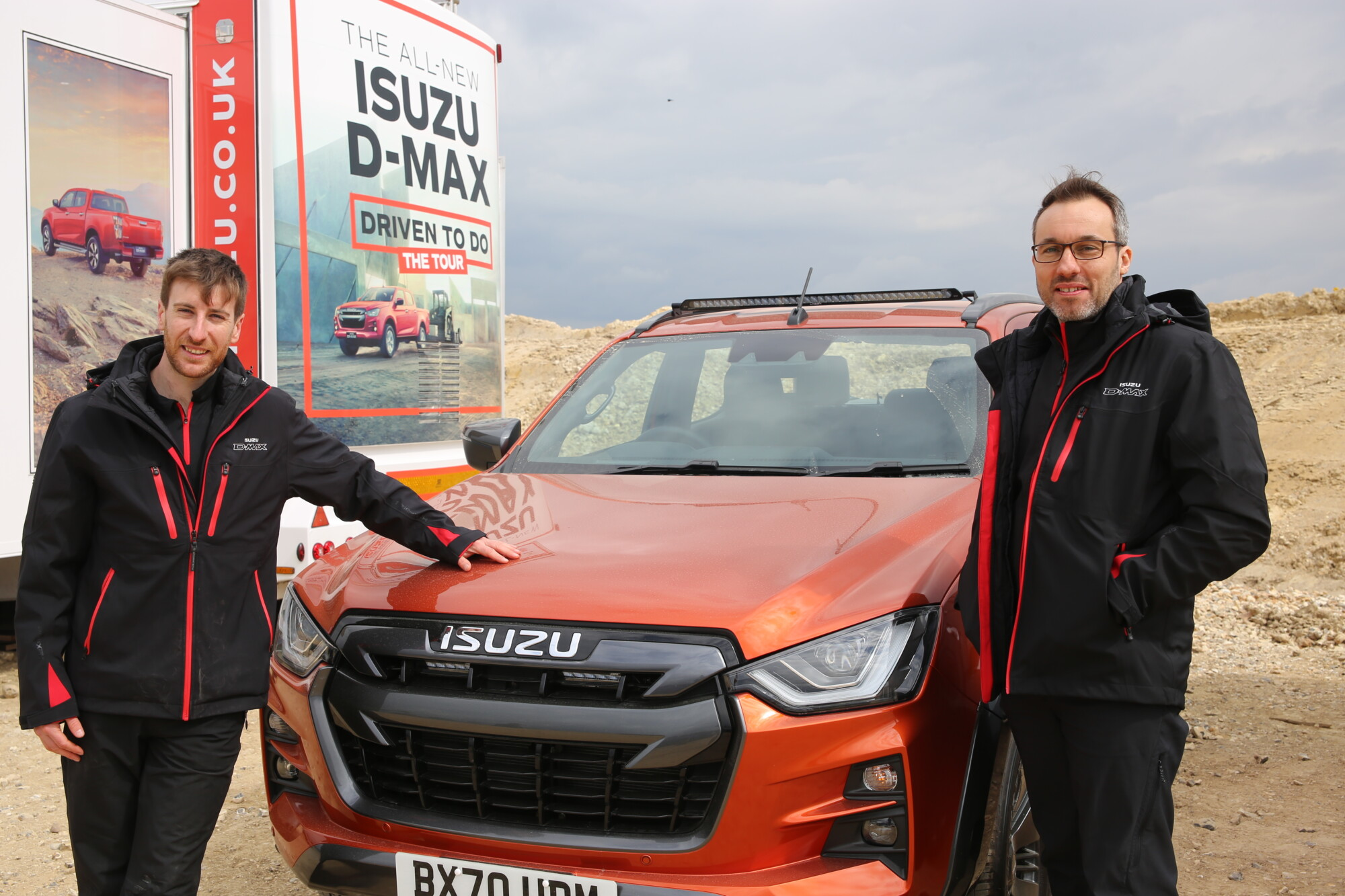 Isuzu UK product and PR manager Liam Campbell (left) with managing director William Brown at the UK press launch. William commented at the event that whereas 2019 D-Max sales totalled 4,770 units, this year's target is 5,000 and the target for 2025 is 10,000.
