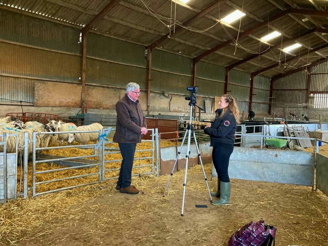 Farmer being filmed in sheep barn for 'unearthing farming lives'