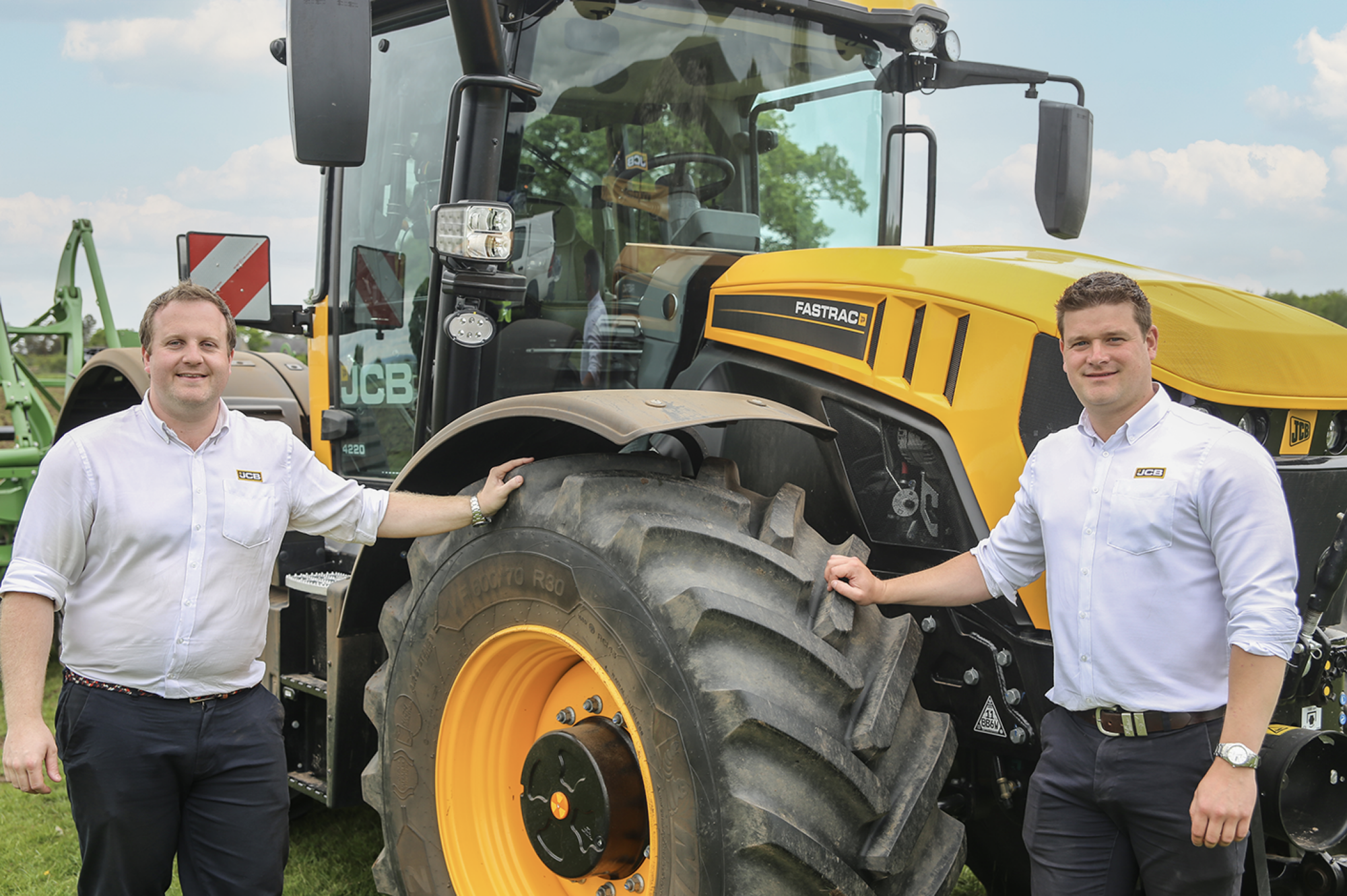 Pictured with the latest 4000-series Fastrac are product specialist Tom Mowforth (left) with James Coxon.