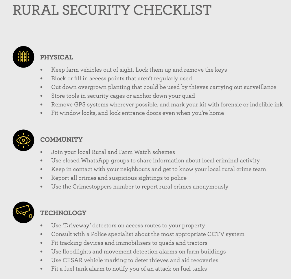 farm theft and rural crime safety tips