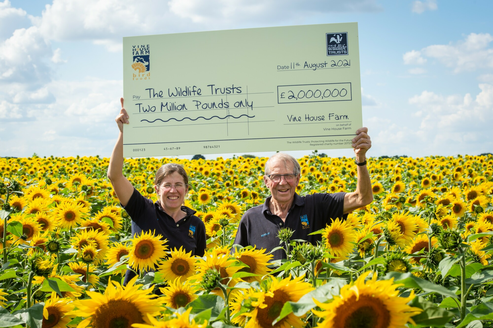 Vine House Farm £2 million for Wildlife Trusts Lucy Taylor & Nicholas Watts972041(c) Matthew Roberts (1) in a field of sunflowers.